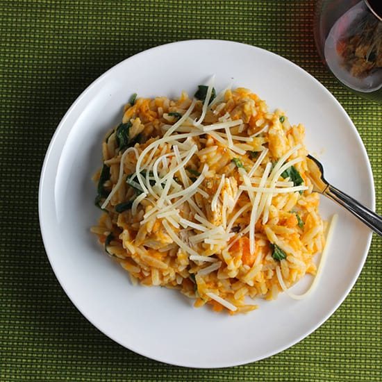 Turkey sweet potato orzo on a white plate - leftover turkey recipes