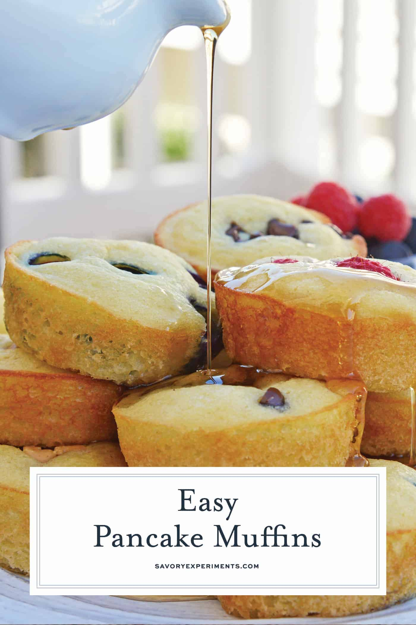 Pancake Muffins are a quick and easy pancake recipe that's perfect for busy mornings. Enjoy these homemade pancakes at home or on the go. #pancakemuffins #pancakerecipe #homemadepancakes www.savoryexperiments.com