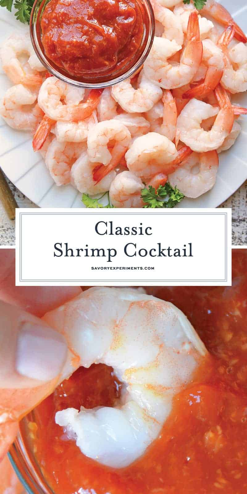 This Classic Shrimp Cocktail recipe goes back to the basics, with only 3 ingredients to the best shrimp cocktail. Perfect for holidays and dinner parties! #shrimpcocktailrecipe #bestshrimpcocktail www.savoryexperiments.com