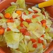 close up of cabbage soup