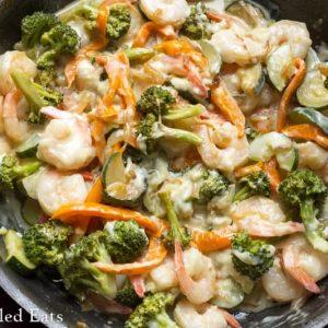 Shrimp and veggies in a skillet - skillet meals