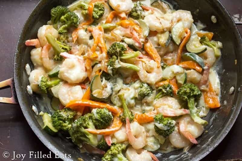 Shrimp and veggies in a skillet - skillet meals