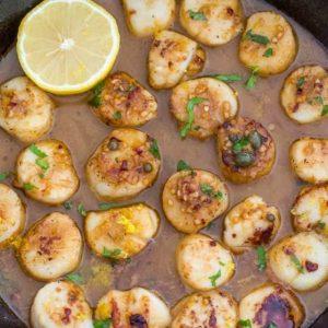 Lemon garlic scallops in a skillet - skillet meals