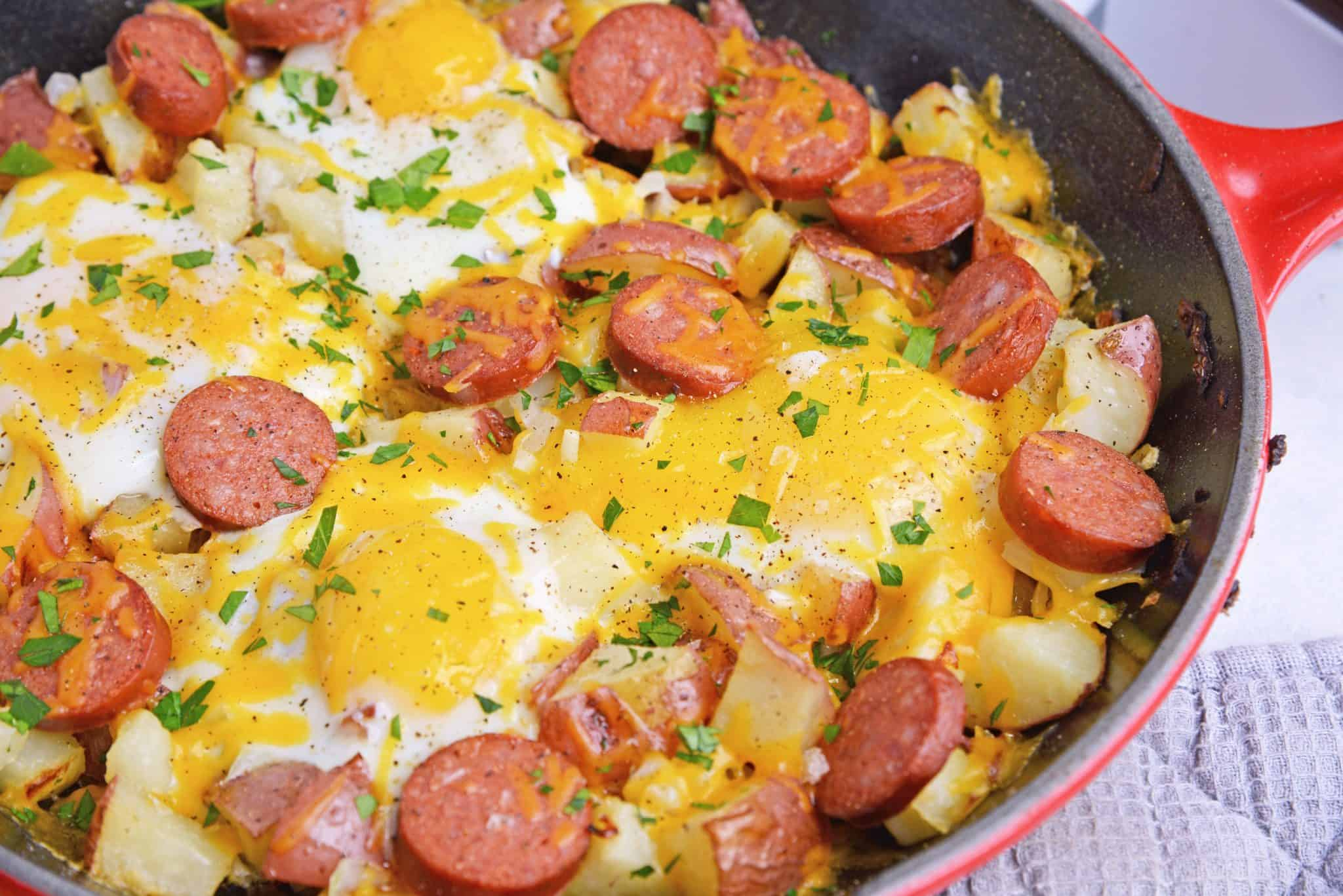 Eggs, cheese and sausage in a skillet - skillet meals