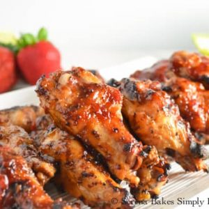 close up of sticky chicken wings