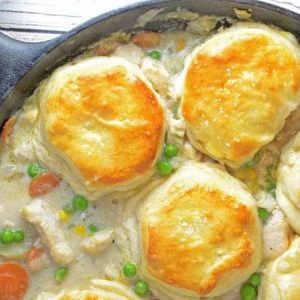 Chicken pot pie and biscuits in a skillet - skillet meals