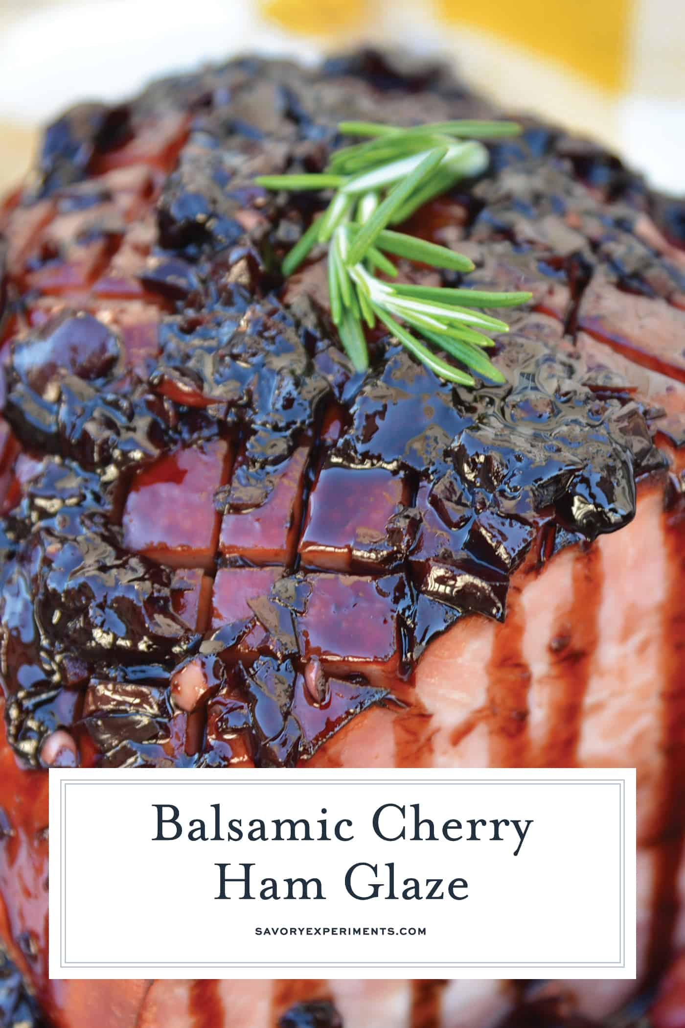 Balsamic Cherry Ham Glaze is an easy ham glaze for your Christmas ham or any baked ham throughout the year. Tart cherries, balsamic vinegar and brown sugar lend bold flavors. #hamglaze #christmasham #hamrecipe www.savoryexperiments.com