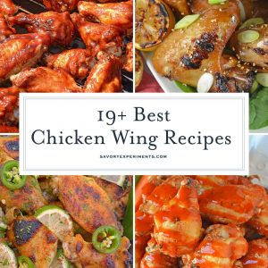 collage of chicken wing recipes