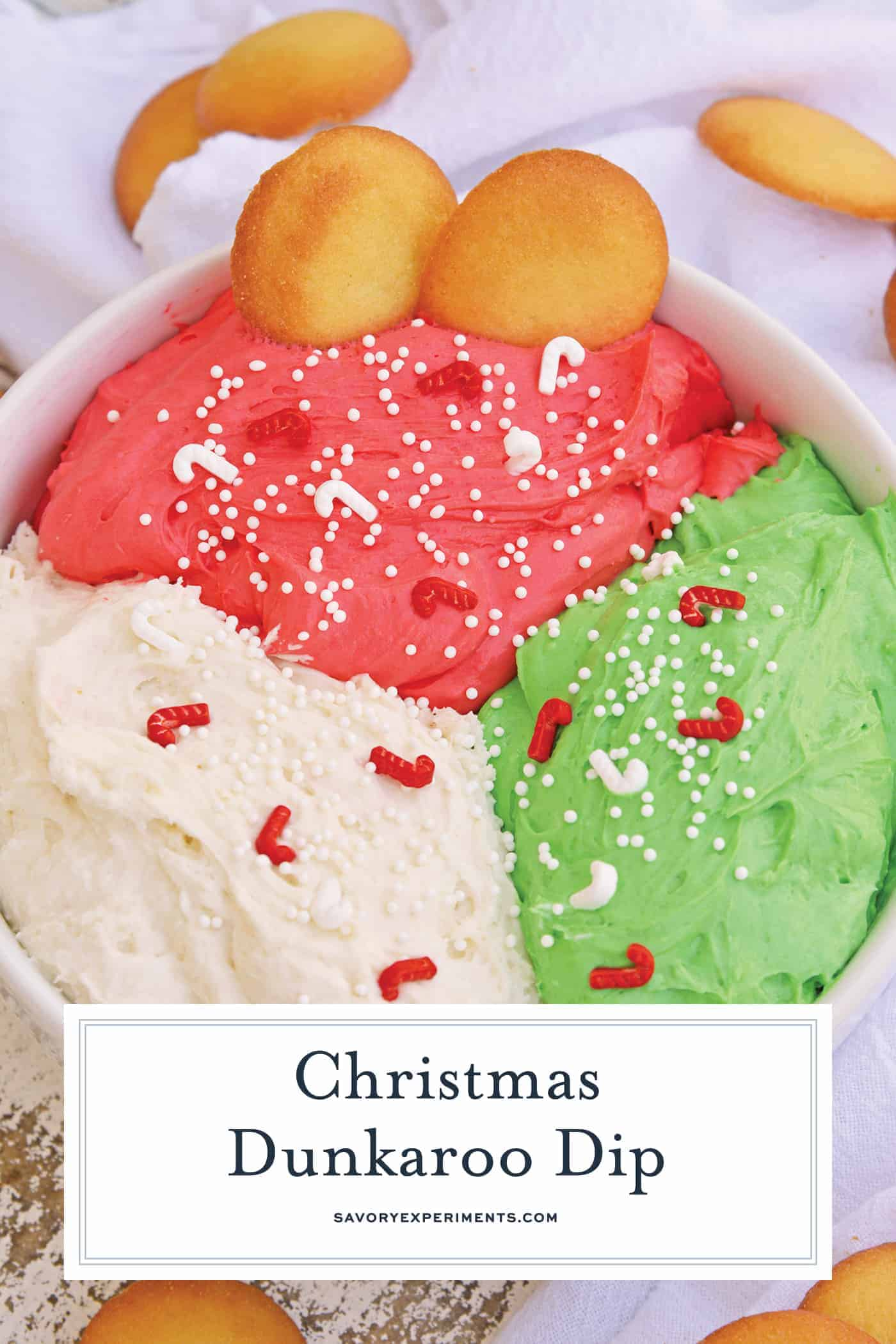 This Christmas Dunkaroo Dip recipe is a quick, sweet and festive holiday dessert dip that the entire family will love. Ready in just a few minutes! #dunkaroodiprecipe #dessertdips #howtomakedunkaroodip www.savoryexperiments.com