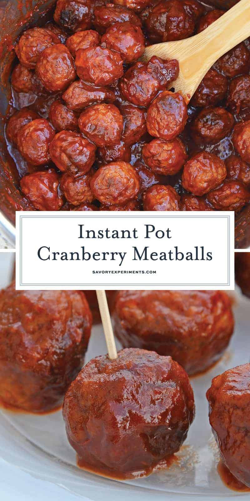 These Cranberry Chili Meatballs, made with only 4 ingredients, will become your go-to cocktail meatballs recipe! The perfect appetizer for any gathering! #partymeatballs #instantpotmeatballs #cocktailmeatballs www.savoryexperiments.com