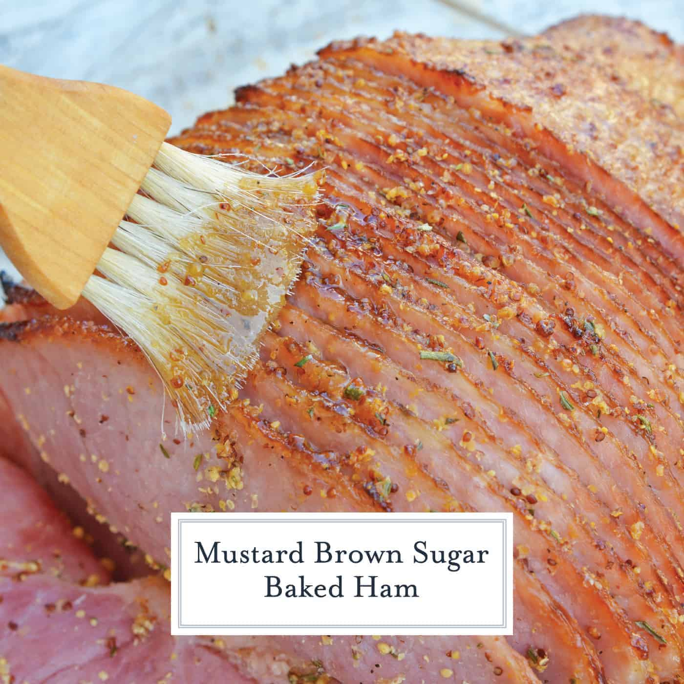 Mustard Brown Sugar Baked Ham is a ham glaze recipe that's perfect for a Christmas ham or an Easter ham. One of the best easy ham recipes! #hamglazerecipe #spiralhamrecipes #easterham #christmasham www.savoryexperiments.com