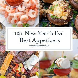Collage of new years eve appetizers