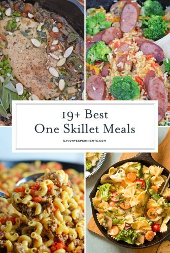 collage of one skillet meals