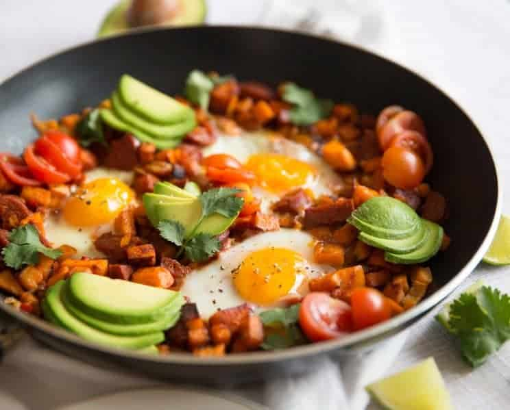 Sweet potato breakfast skillet with eggs avocado - skillet meals