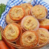 basket of carrot cake muffins