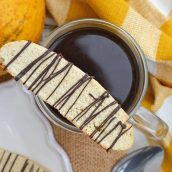 Vanilla Mocha Biscotti are easy to make and perfect for pairing with coffee or tea. Subtle coffee, vanilla and chocolate flavors make them suitable for any occasion.#homemadebiscotti #biscottirecipe www.savoryexperiments.com