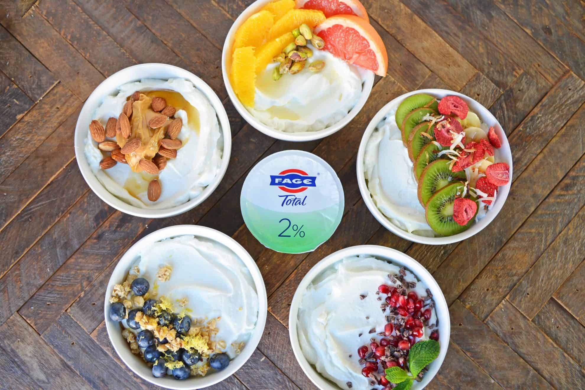 Discover 5 unique yogurt bowls using fresh fruit, natural sweeteners and nuts to help keep you on track for a healthy lifestyle while still feeling satisfied. #yogurtbowls www.savoryexperiments.com