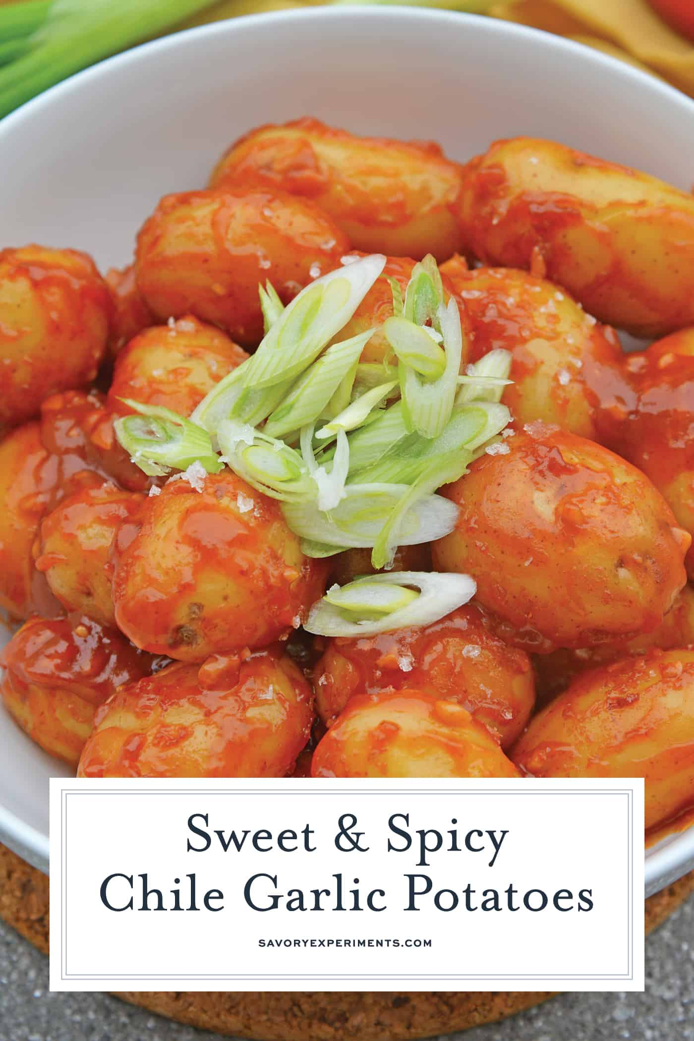 Chile Garlic Potatoes are an easy potato side dish using baby potatoes in a sweet and spicy sauce. #potatosidedish www.savoryexperiments.com