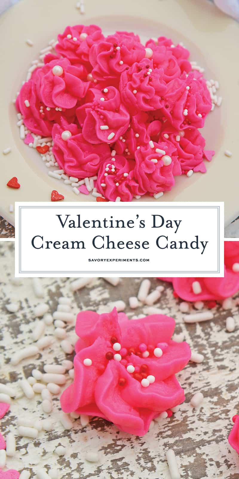 Valentine's Day Cream Cheese Candy is an easy no-bake dessert perfect for every Valentine's Day party! #creamcheesecandy #merrimints #valentinesday www.savoryexperiments.com