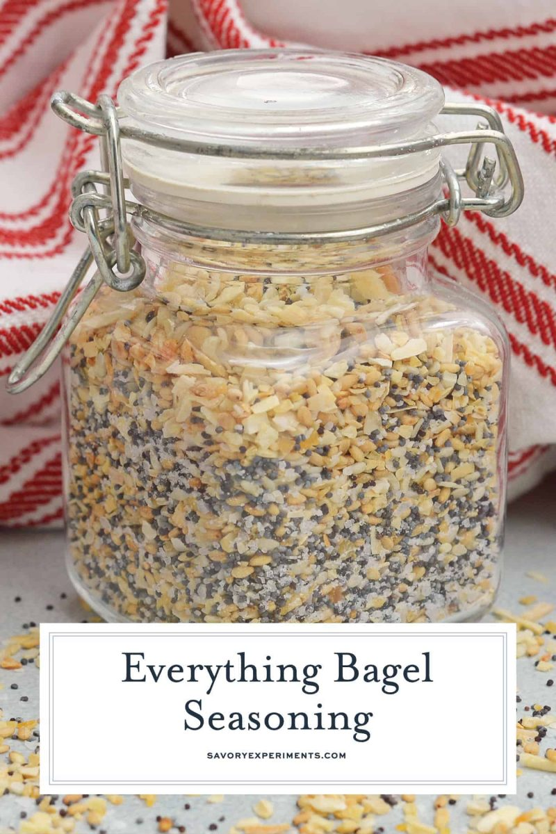Everything Bagel Seasoning is all of the flavor and goodness of the everything bagel spices so you can sprinkle it on anything! Five ingredients you already have in your pantry.#everythingbagel #everythingbagelseasoning www.savoryexperiments.com