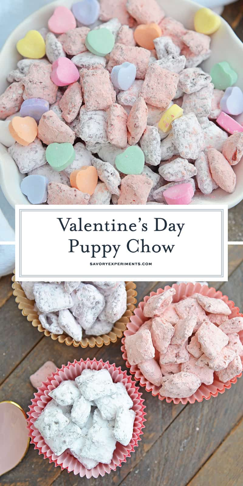 Valentine's Day Puppy Chow transforms a traditional muddy buddy recipe into a festive Cupid Crunch mix! The perfect no-bake dessert for any Valentine's Day party. #puppychow #valentinesdaydesserts #muddybuddy #nobakedesserts www.savoryexperiments.com