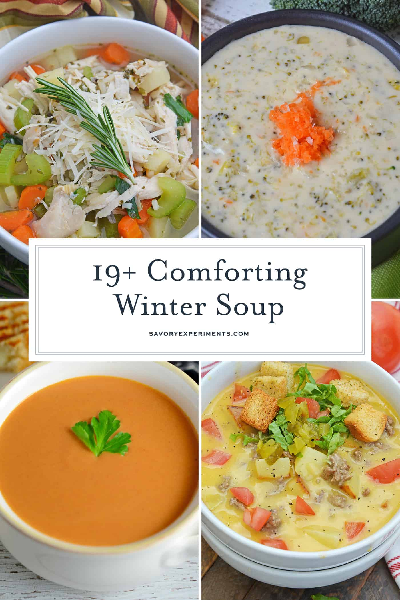 collage of winter soups