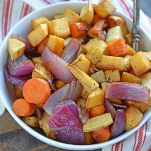 Balsamic Roasted Root Vegetables are veggies caramelized with balsamic vinegar and herbs for a crispy exterior, but smooth interior. #howtoroastvegetables #balsamicroastedrootvegetables #roastvegetables www.savoryexperiments.com