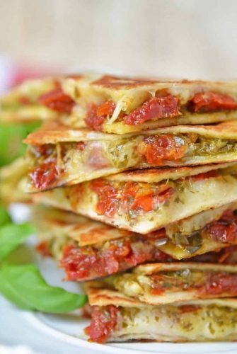 stack of caprese quesadillas