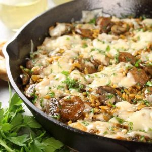skillet chicken marsala and orzo