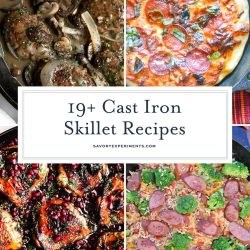 collage of cast iron skillet recipes