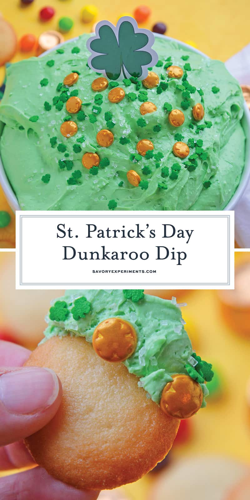 St. Patrick\'s Day Dunkaroo Dip and Dunkaroo Dip on a Nilla Wafer for Pinterest