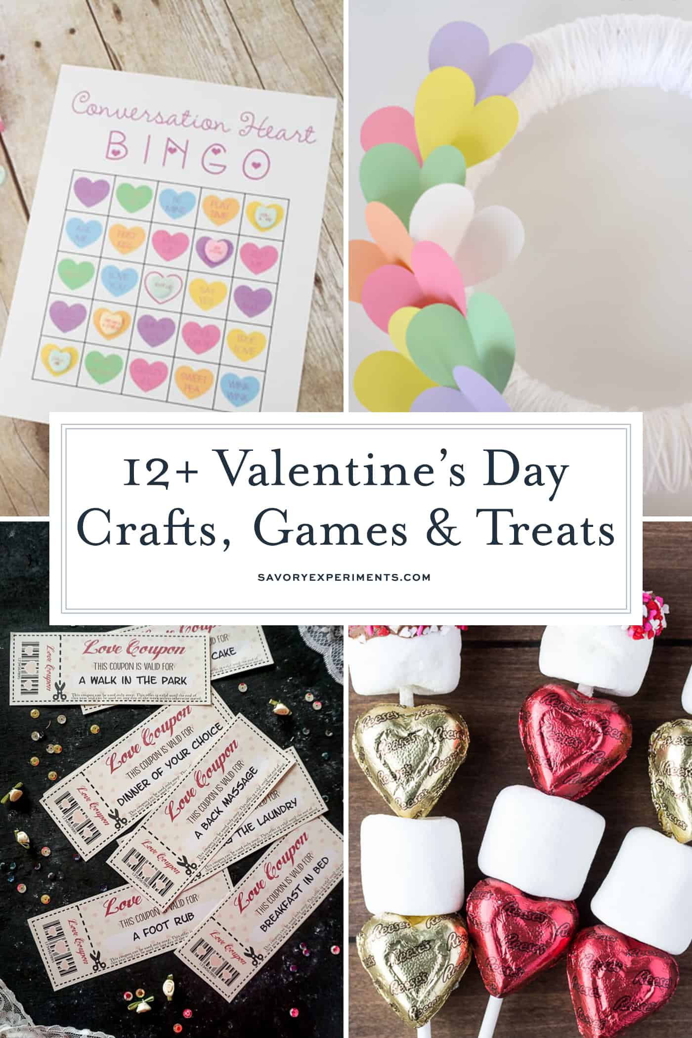 These easy Valentine's Day Crafts, Games and Treats are so fun and festive! These cute easy valentine crafts are perfect for the kids! #savoryexperiments #valentinesdaycrafts #valentinesdaygames #valentinesdaytreats