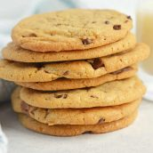 stack of soft chocolate chip cookies