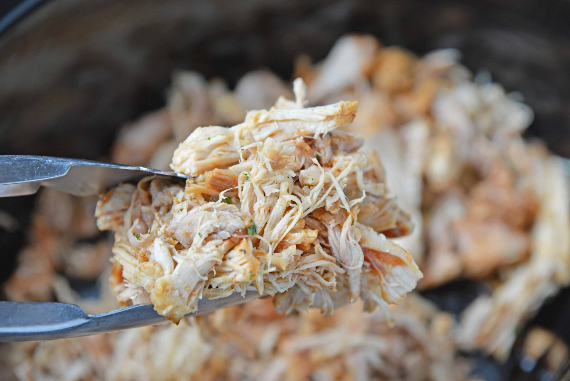 Pulled chicken in tongs