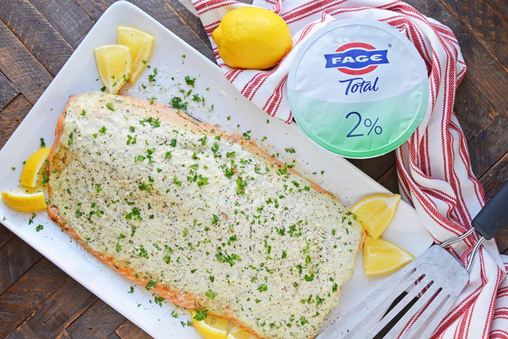 OVerhead of pesto yogurt salmon fillet