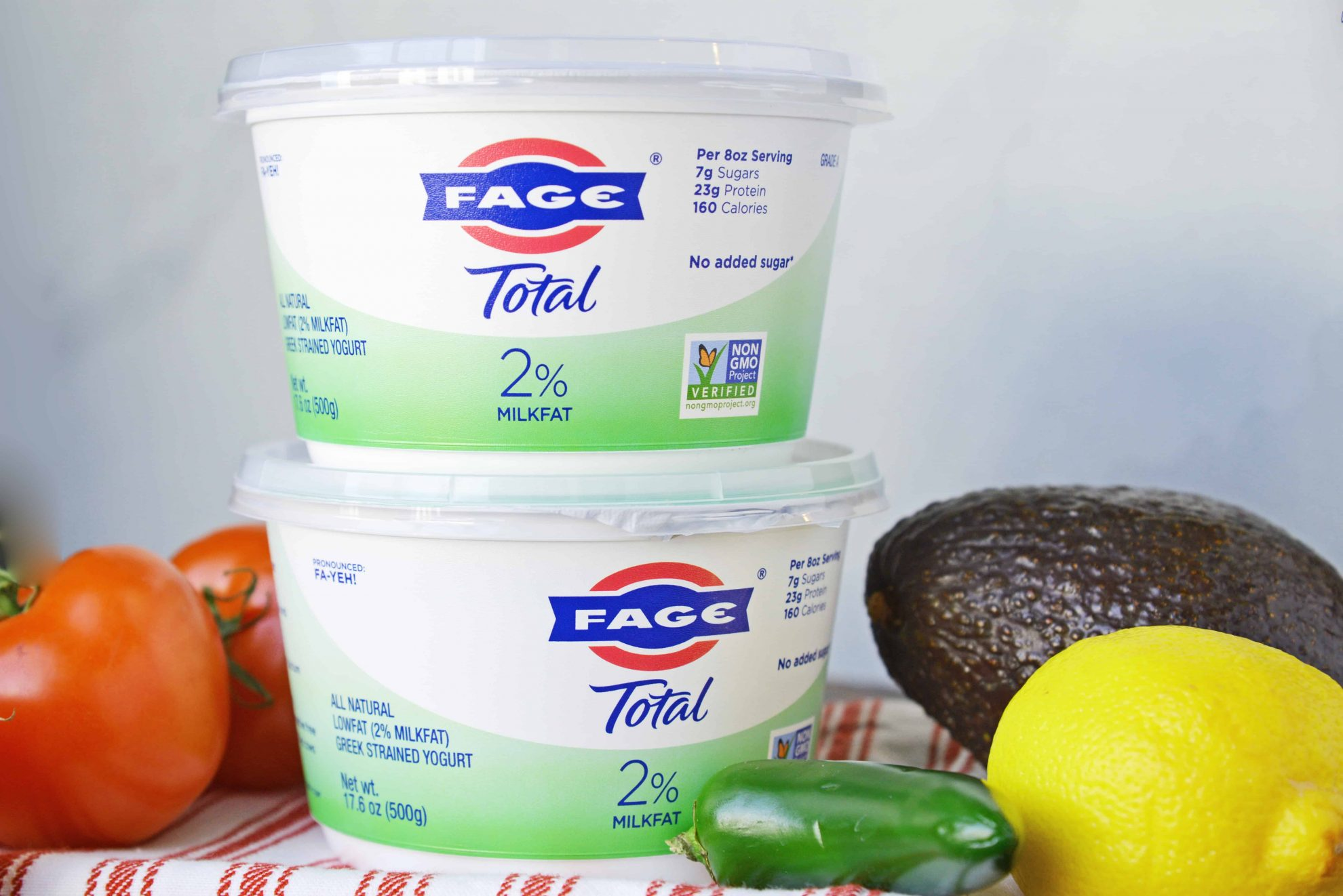 Two FAGE yogurt cups stacked