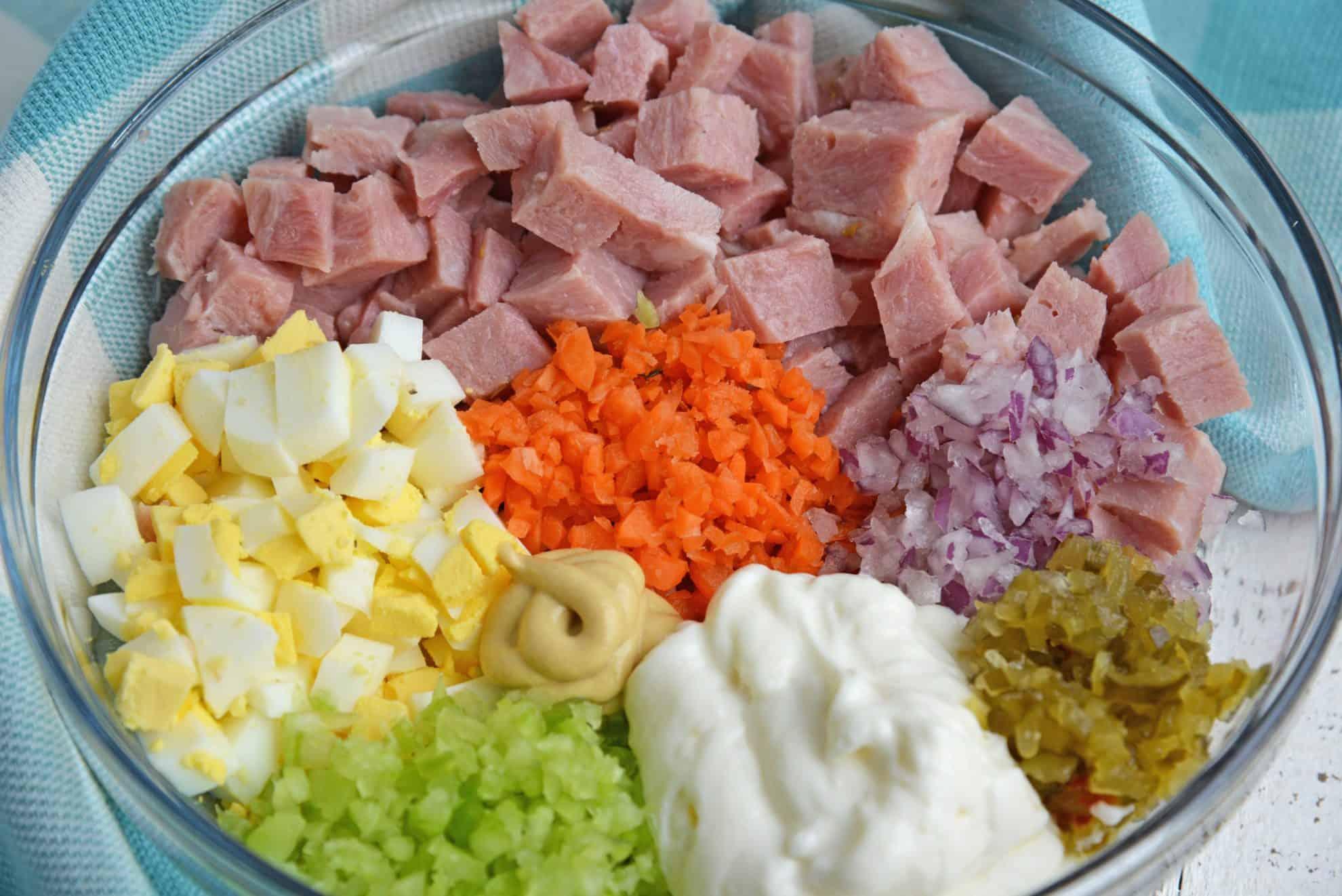 close up ham salad ingredients