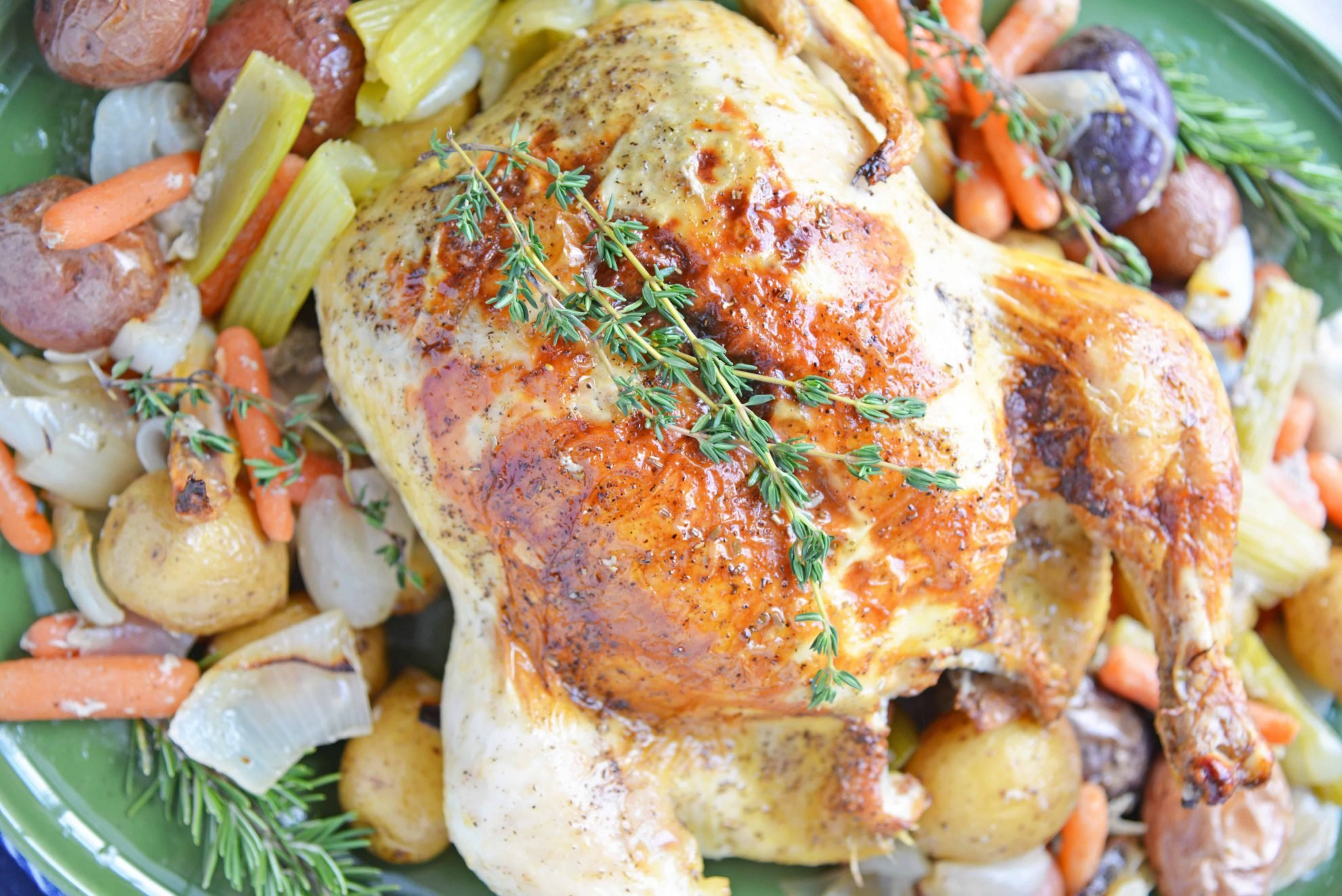 Oven roasted chicken with Thyme sprig