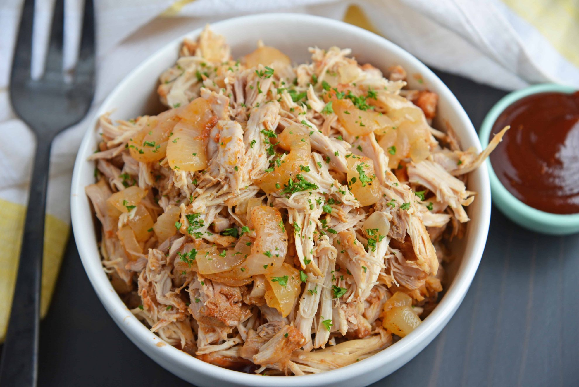 Shredded BBQ Chicken with caramelized onion