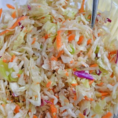 Close up of homemade coleslaw in bowl