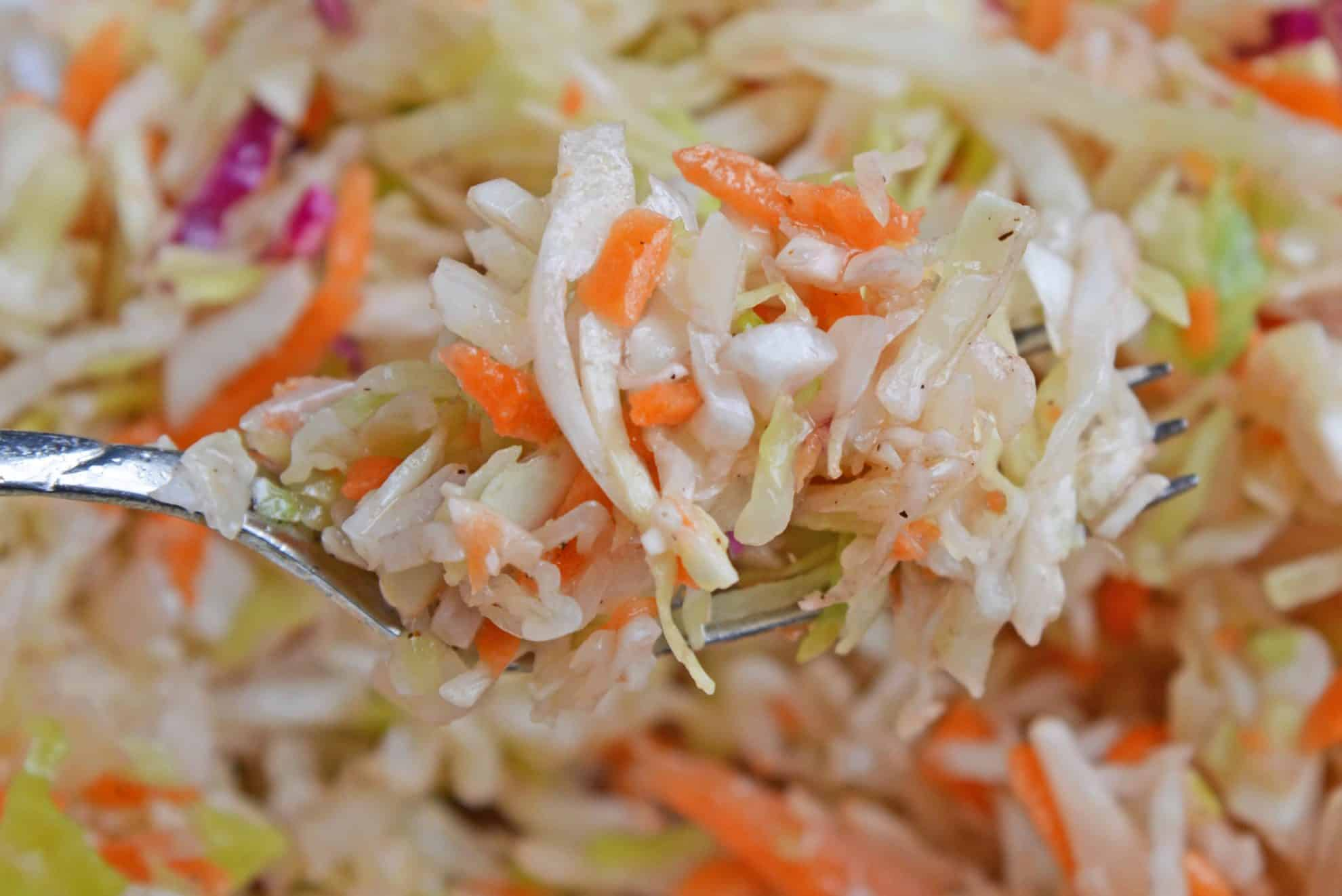 Close up of vinegar coleslaw.