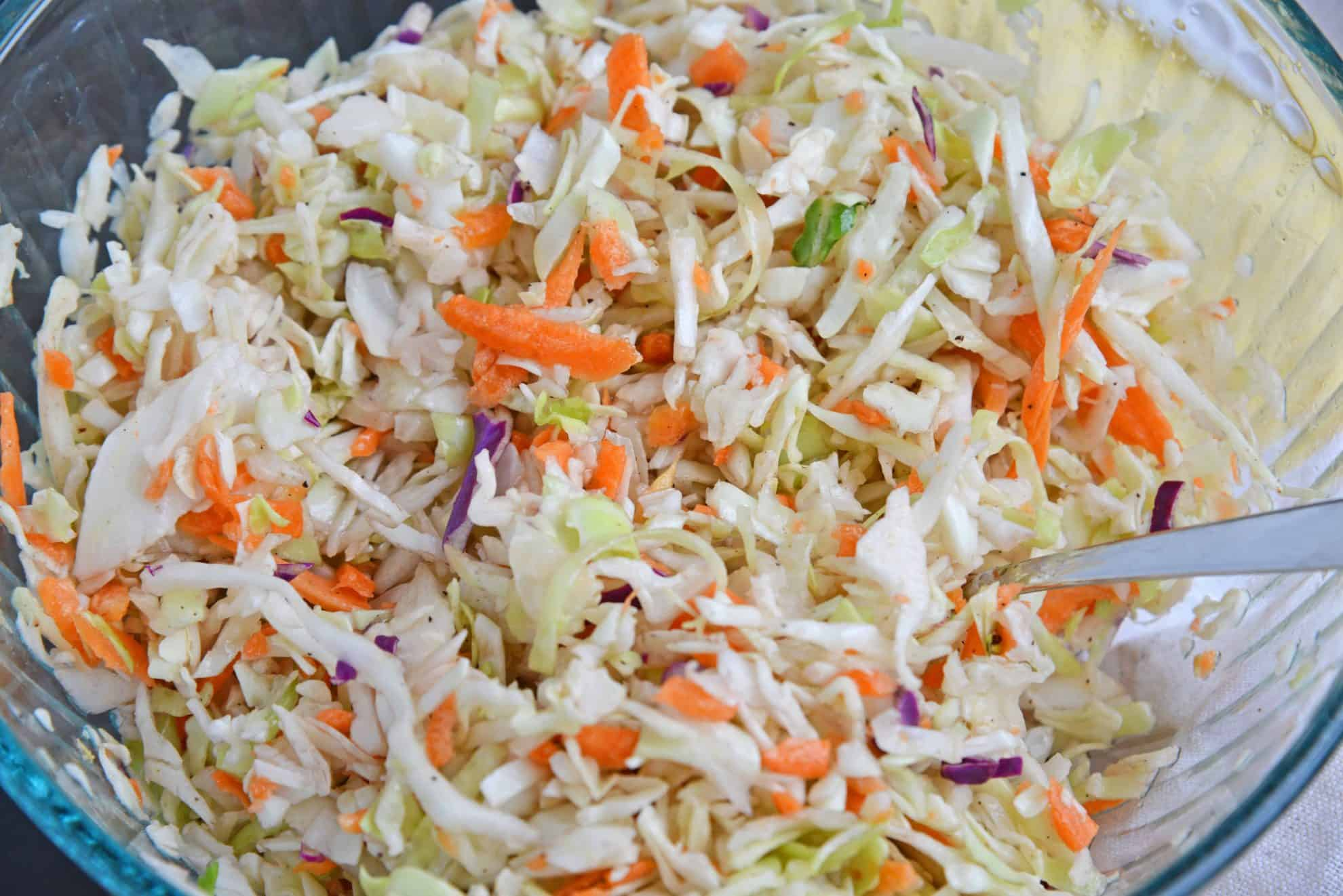 Cabbage slaw in a mixing bowl