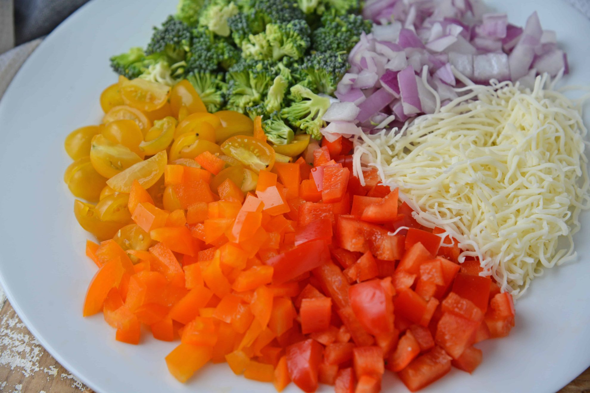 Close up of vegetarian pizza toppings