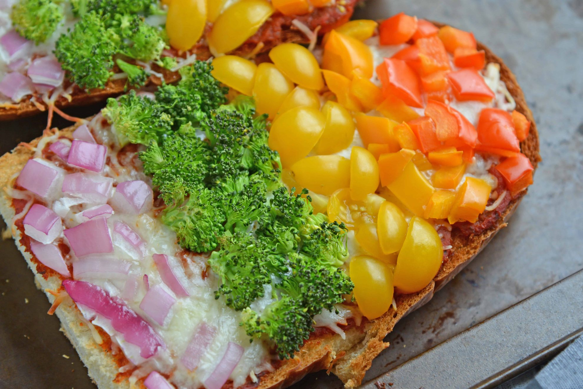 Close up of vegetarian French bread pizza