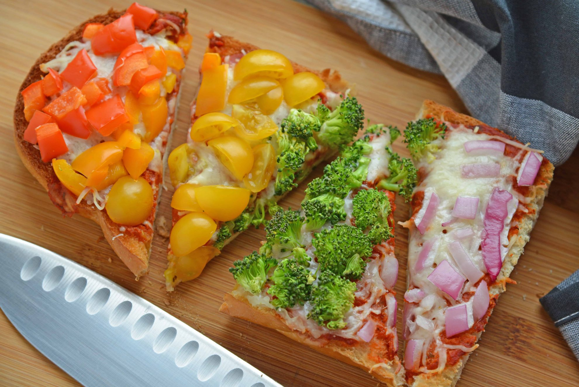 Rainbow Pizza Cut into pieces