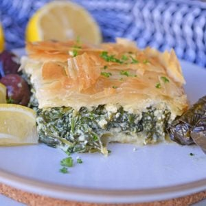 Cross Sectional view of spanakopita