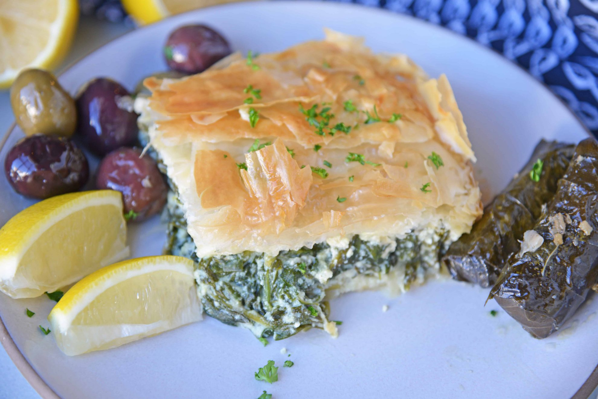 Angle view of Greek spinach pie