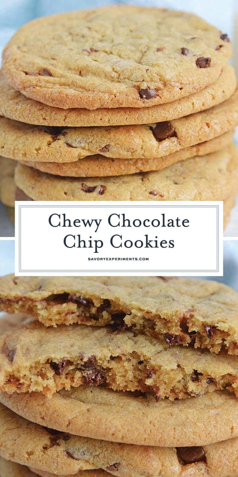 Stack of chewy chocolate chip cookies for pinterest