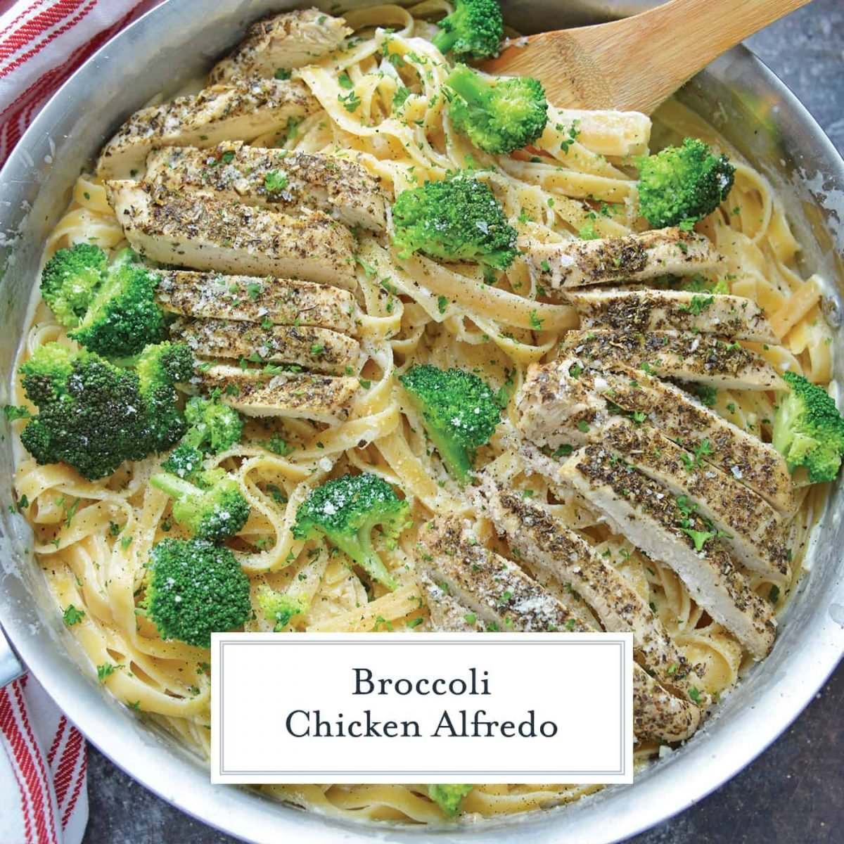 Overhead of broccoli chicken pasta