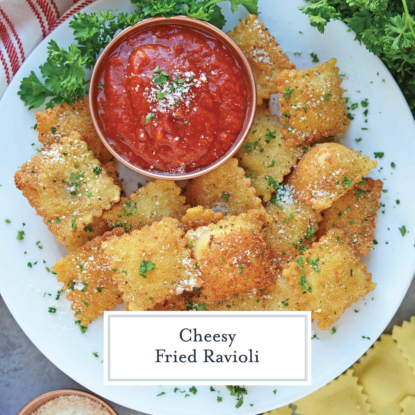 Overhead of fried ravioli